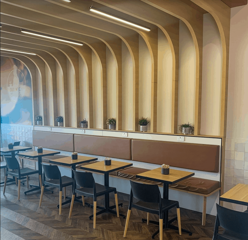 beams, panels, tables and chairs good for restaurants