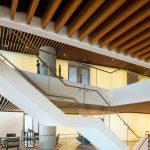 wooden ceiling beams in office