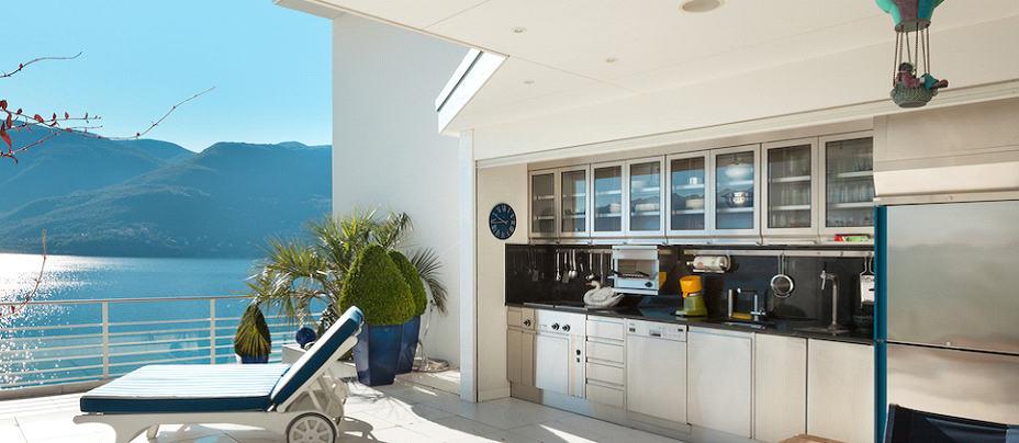 luxury outdoor wooden kitchen