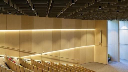 plywood interior panels in an auditorium