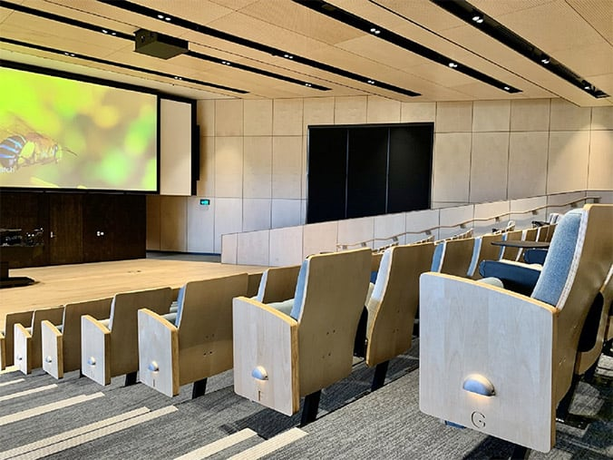 wood ceiling in auditorium